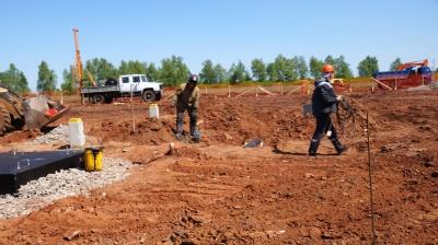 На строительной площадке ПС 110/10 кВ «Алексеевка» ведутся работы по монтажу фундаментов под силовые трансформаторы